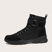 Men Lace-up Front Buckle Decor Combat Boots