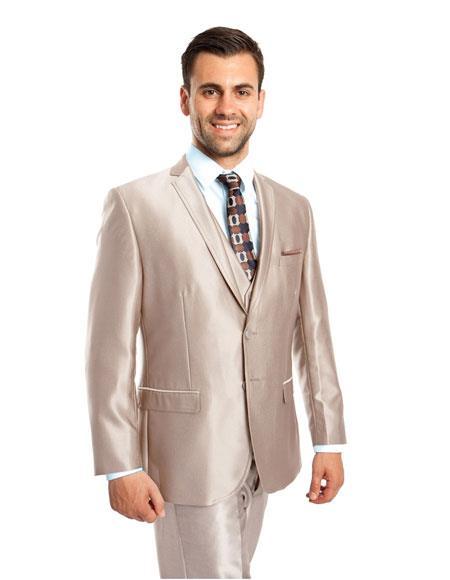Men's Silky Beige Shiny 2 Button Single 3 Piece Suit Slim Fit Suit