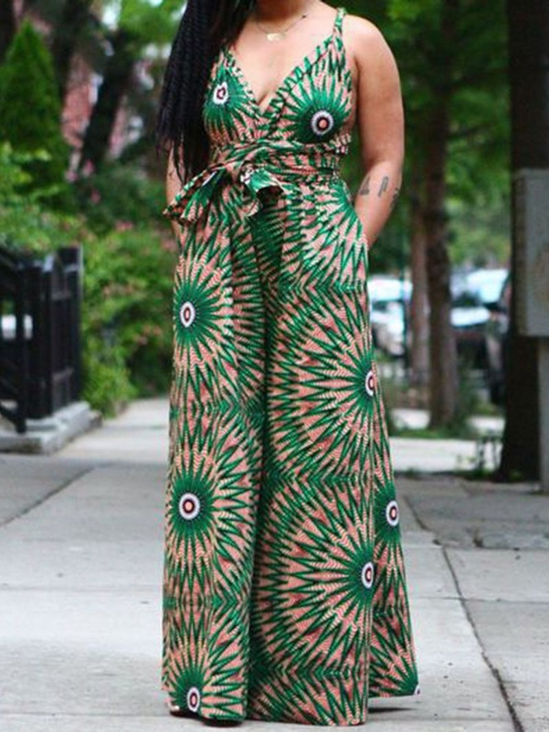 Ericdress African Fashion Dashiki Zipper Full Length Loose Wide Legs Jumpsuit