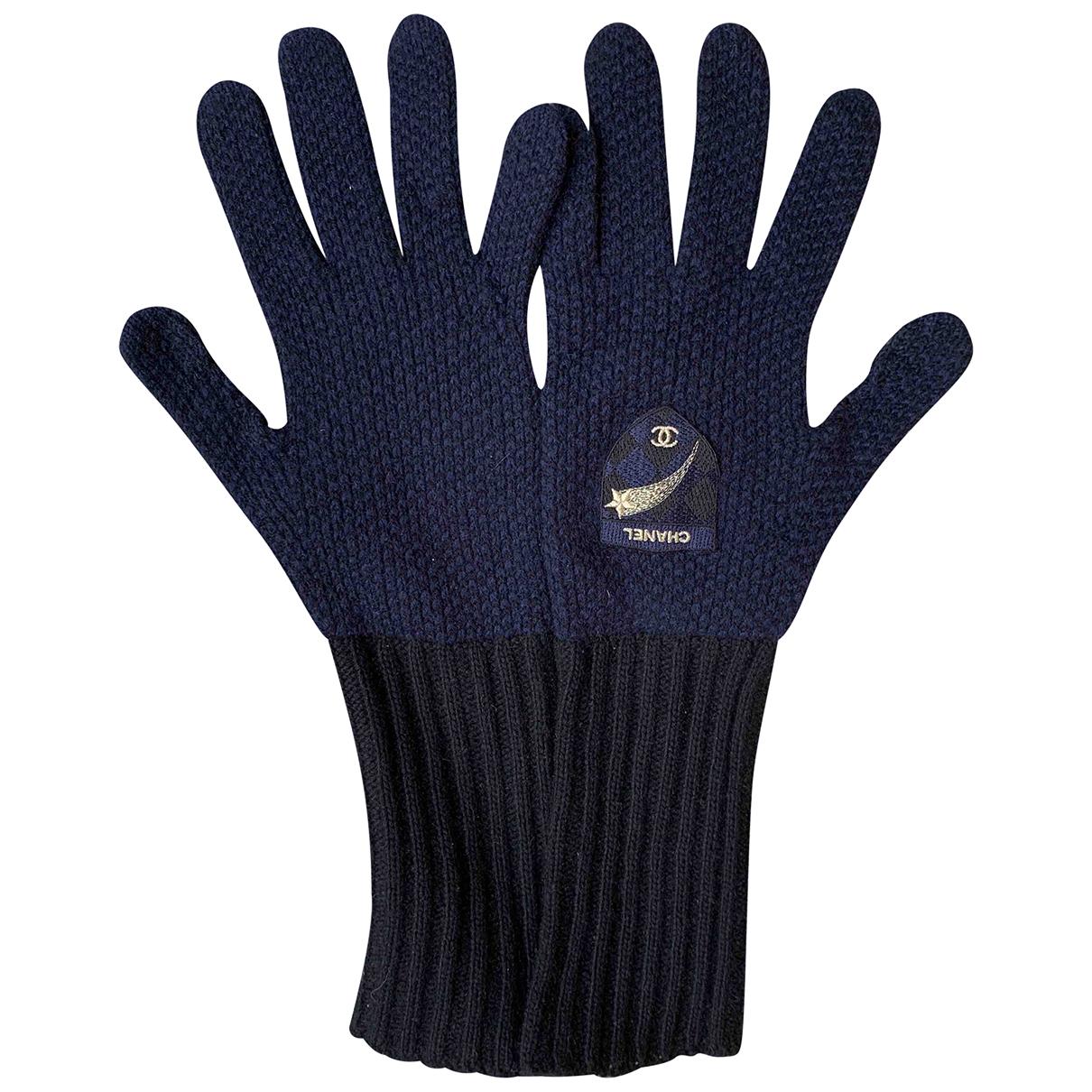 Chanel N Blue Cashmere Gloves for Women M International