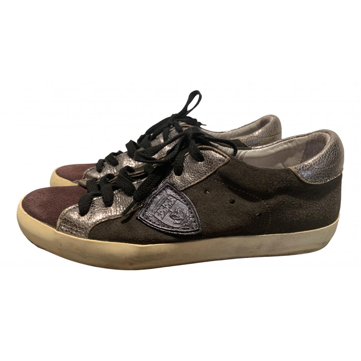 Philippe Model \N Sneakers in  Bordeauxrot Veloursleder