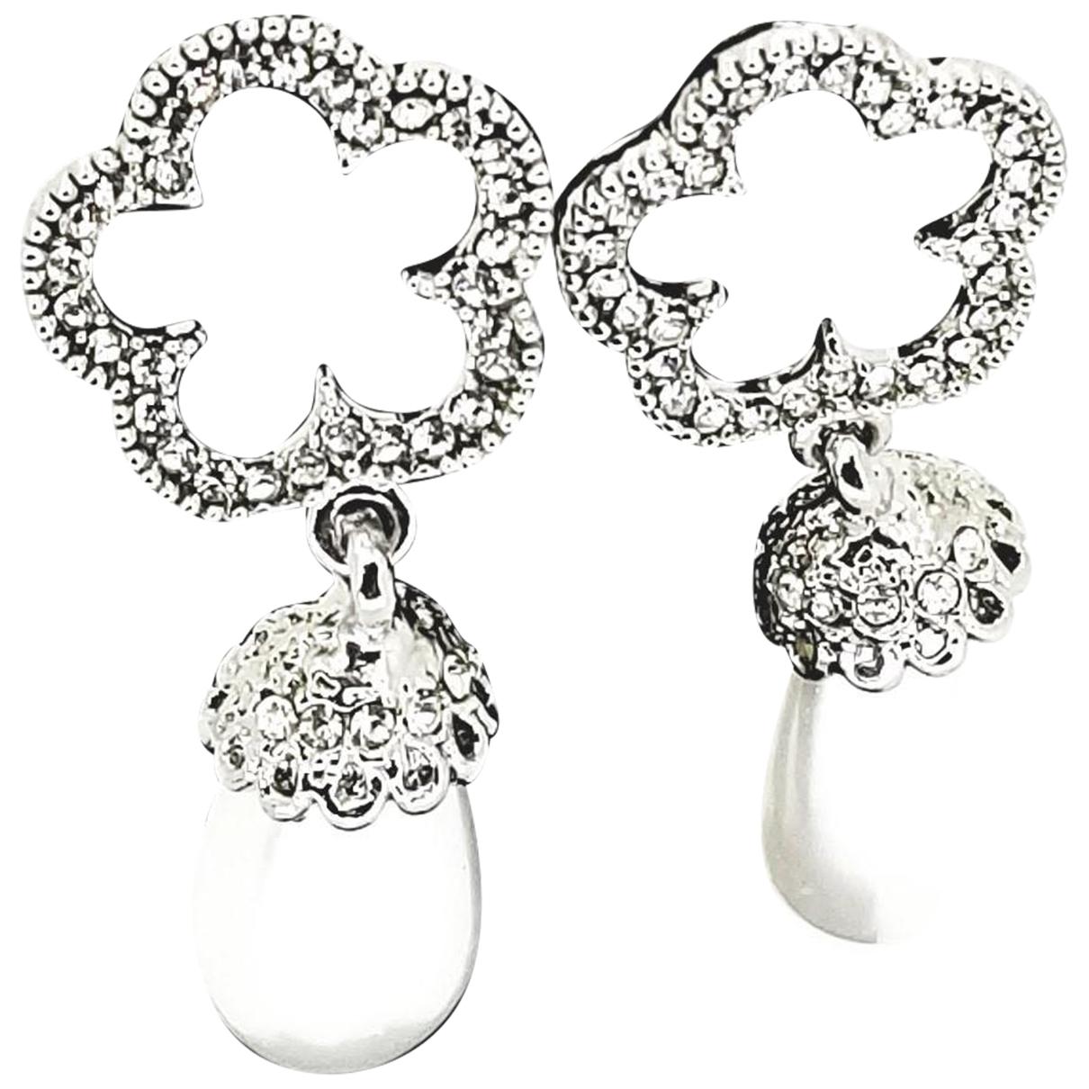 - Boucles doreilles Motifs Floraux pour femme en cristal - argente