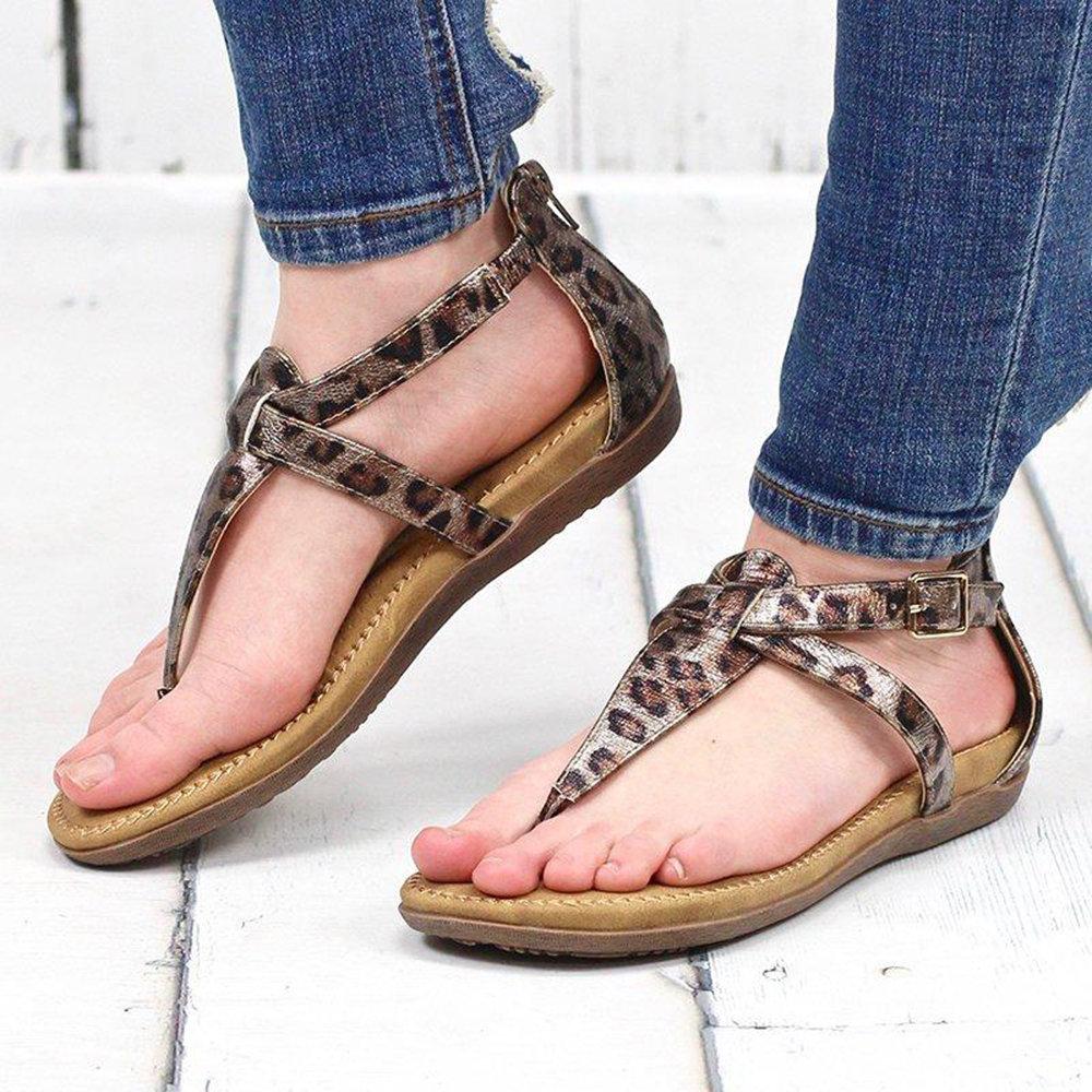 Women Casual Leopard Flip Flops Zipper Flat Sandals