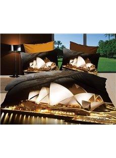 Modern Sydney Opera House 3D Print 4 piece Bedding Sets