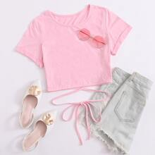 Rolled Cuff Wrap Tie Front Crop Tee