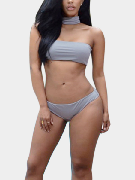 Yoins Bodycon Choker-neck Bikini Set in Grey