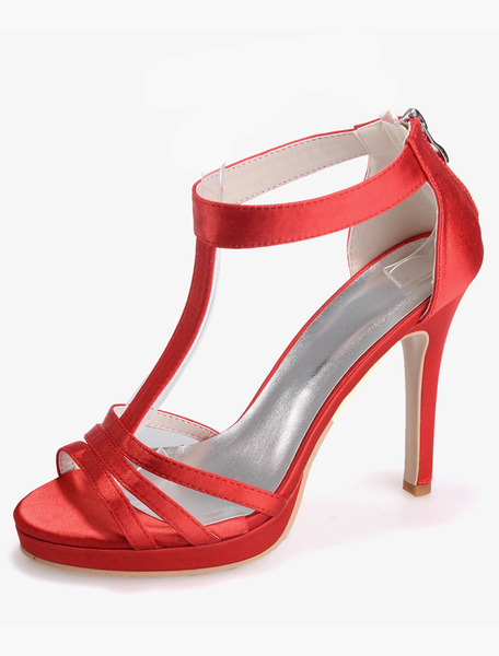 Milanoo Gorgeous Zipper Open Toe Satin Evening and Bridal Sandals