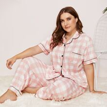 Plus Buffalo Plaid Contrast Trim PJ Set