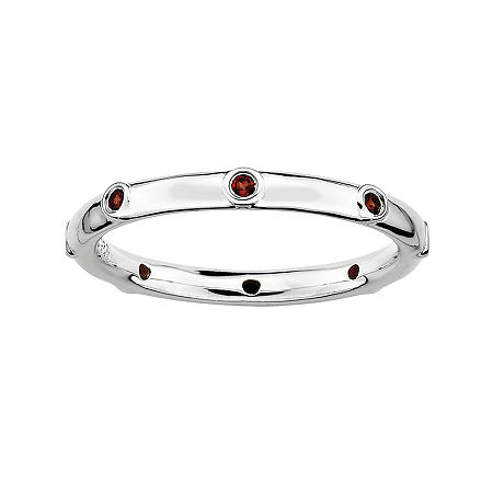 Personally Stackable Genuine Garnet Sterling Silver Station Ring, 9 , No Color Family