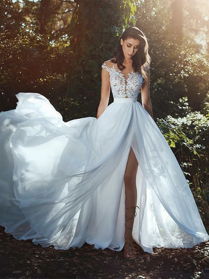 Ericdress A-Line Appliques Cap Sleeves Outdoor Wedding Dress