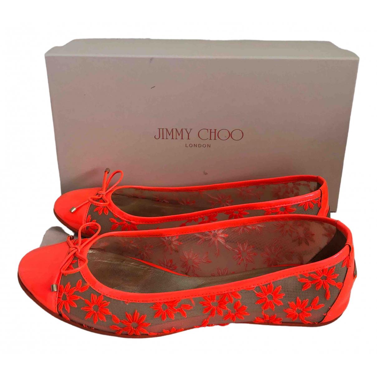 Jimmy Choo \N Ballerinas in  Orange Leinen
