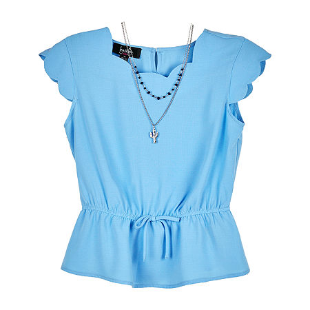 by&by girl Big Girls Scallop Neck Short Sleeve Blouse, X-large , Blue