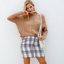 falda tweed de cuadros con cremallera delantera