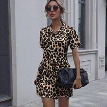 Leopard Print Ruffle Hem Smock Dress