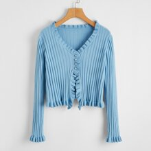 Lettuce Frill Pearls Front Crop Cardigan