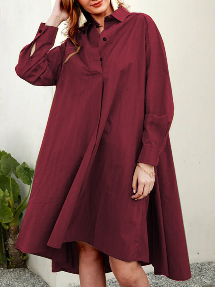 Casual A-Line Solid Color Pleated Long Sleeve Irregular Shirt Dress