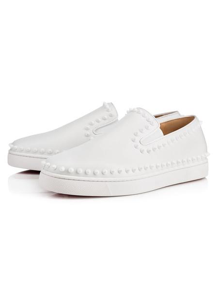 Milanoo Zapatos holgazanes para hombres Cosy Cowhide White Rivets Slip-On Prom Shoes Zapatos con clavos