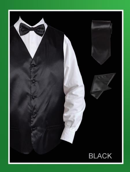 Mens 4 Piece Vest Set  Satin Black