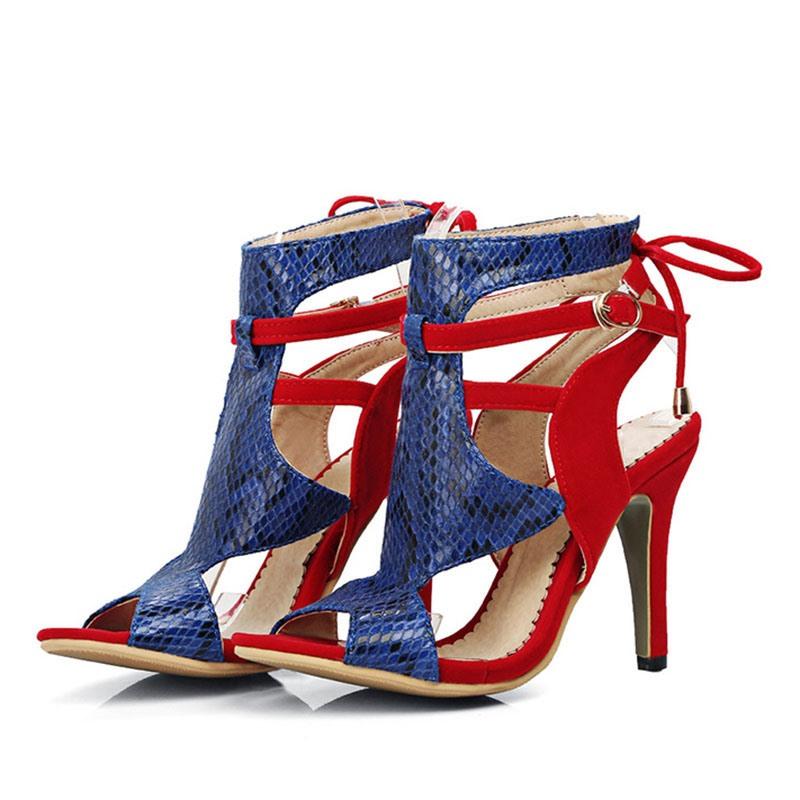 Ericdress Lace-Up Peep Toe Stiletto Heel Casual Sandals