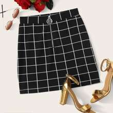 O-ring Zip Front Grid Skirt