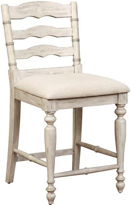 Marino Collection 018744WWASH01U Counter Height Stool with Turned Legs  Curved Back Design  Footrest Support  Rubberwood Materials  Solid Wood Frame