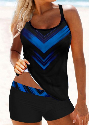 Royal Blue Strappy Back Printed Tankini Set - M
