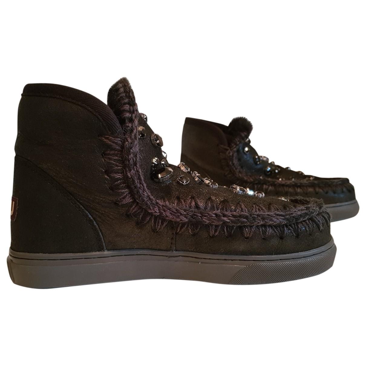 Mou - Boots   pour femme en cuir - noir