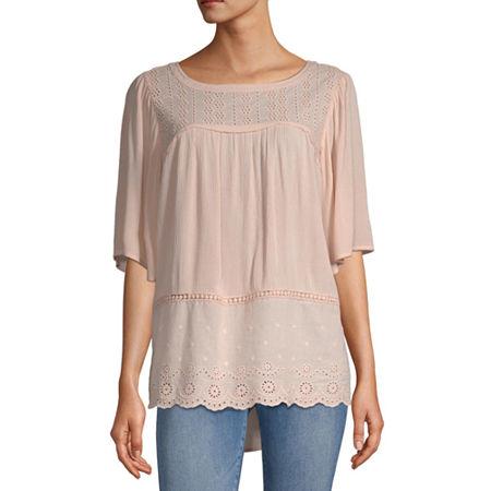 Artesia Eyelet Womens Round Neck Elbow Sleeve Blouse, Medium , Pink
