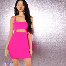 Neon Pink Cutout Mini Dress