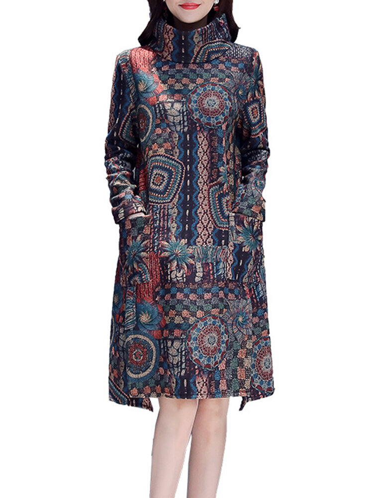 Ethnic Style Print High Neck Split Hem Pocket Dress