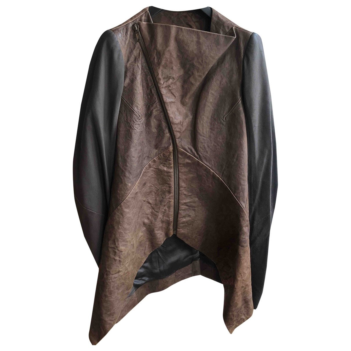 Rick Owens \N Brown Leather jacket for Women 44 IT