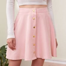 Solid Corduroy Button Front Skater Skirt