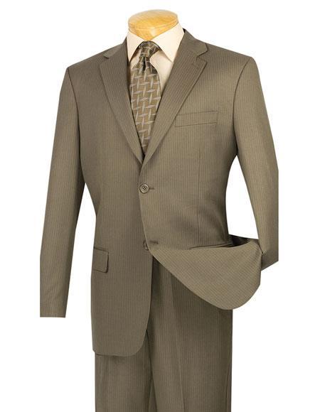 Mens Mini Stripe ~ Pinstripe 2 button Taupe Wool Blend Suit