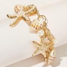 1pc Girls Shell & Starfish Charm Chain Bracelet
