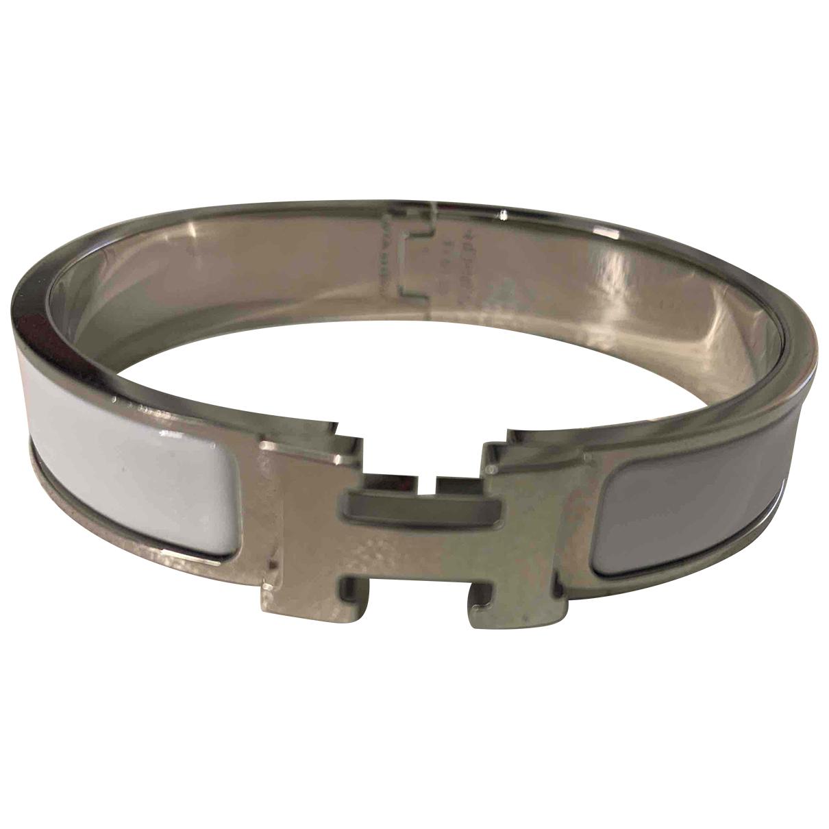 Hermes - Bracelet Clic H pour femme en metal - blanc