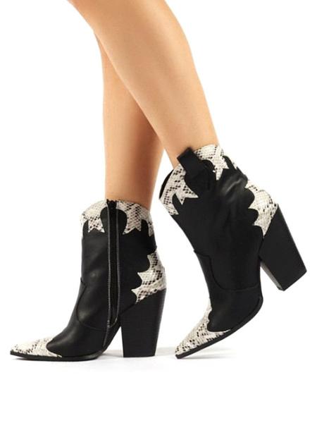 Milanoo Botines de mujer Botas de cuero PU con estampado de piel de serpiente con punta puntiaguda negra