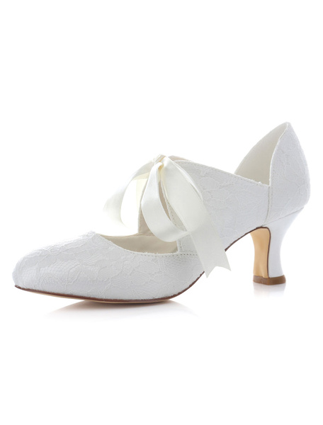 Milanoo White Bridal Pumps Satin Ribbons Lace Up Wedding Heels for Women