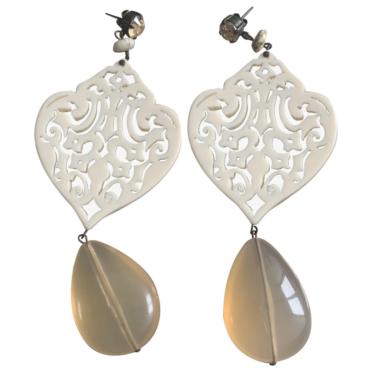 Non Signé / Unsigned \N Beige Metal Earrings for Women \N