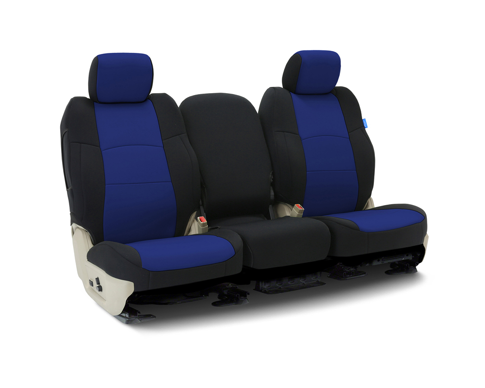 Coverking CSCF3CH10217 Custom Seat Covers 1 Row Neoprene Blue | Blue Sides Front Chevrolet Silverado 1500 2019-2021