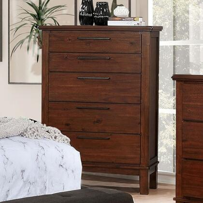 Knighton CM7528C 36 Chest with 5 Drawers  Black Metal Bar Pulls and Wood Block Feet in Brown