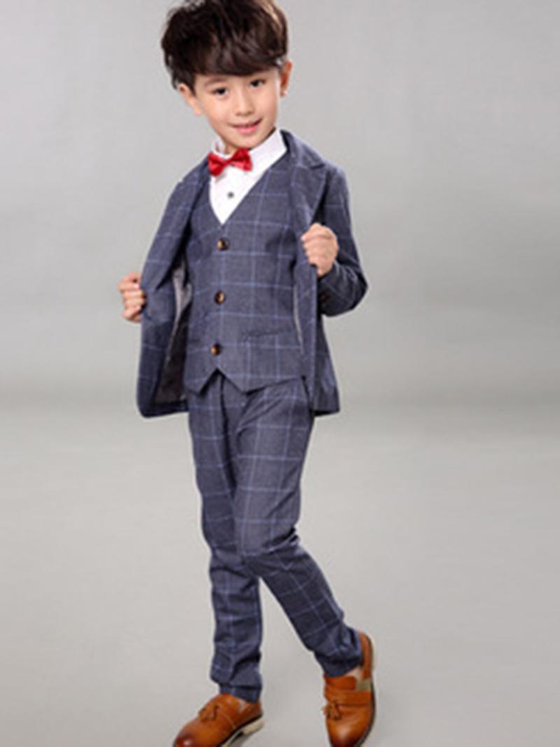 Ericdress 3 Color Plaid Shirt Vest Four-Piece Boys Suit