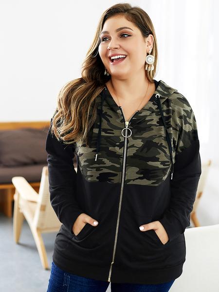 Yoins Plus Size Black Camo Hooded Zip Design Jumper