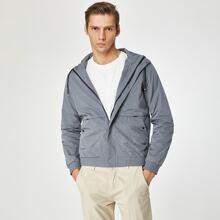 Men Zip Up Drawstring Windbreaker Athletic Jacket