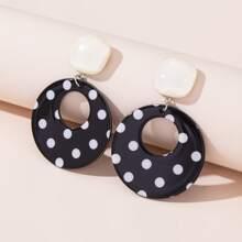 Polka Dot Print Round Drop Earrings