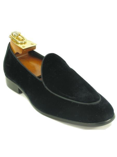 Carrucci Black Men's Slip On Genuine Velvet Fashionable Loafer Shoe