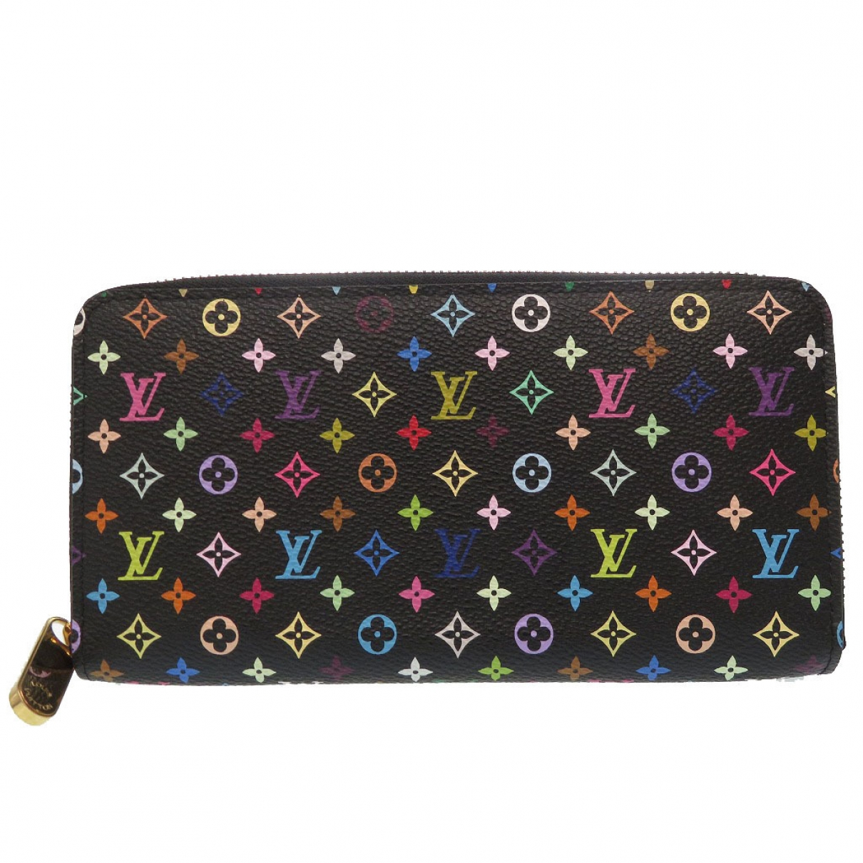 Louis Vuitton Zippy Portemonnaie in  Schwarz Leinen