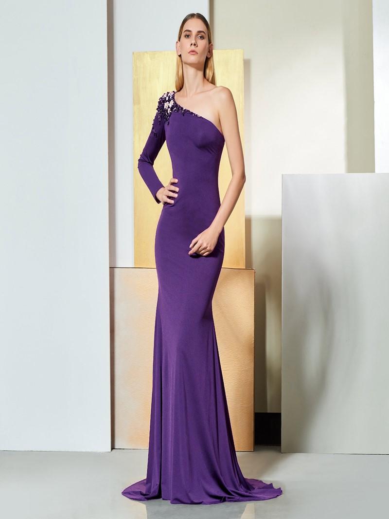 Ericdress Beaded One Shoulder Black Mermaid Evening Dress
