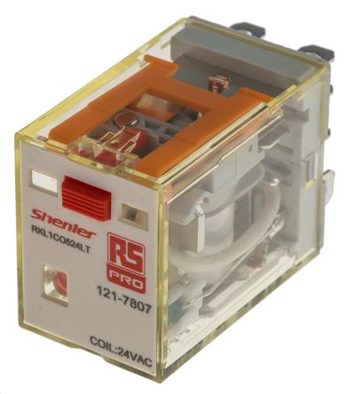 RS PRO , 24V ac Coil Non-Latching Relay SPDT, 16A Switching Current Plug In Single Pole