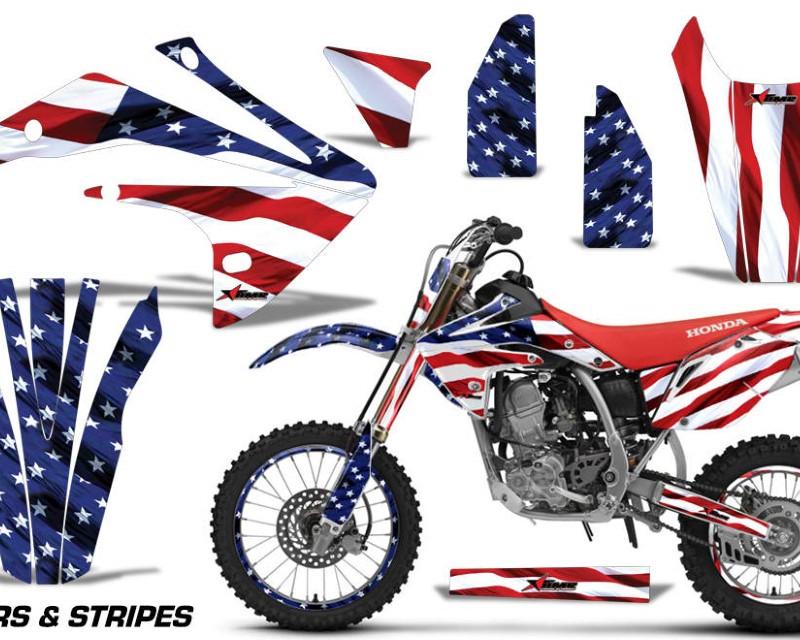 AMR Racing Graphics MX-NP-HON-CRF150R-17-18-USA Kit Decal Sticker Wrap + # Plates For Honda CRF150R 2017-2018 USA FLAG