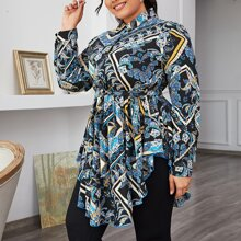 Plus Curved Hem Paisley Print Belted Blouse
